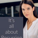 woman next to It's all about Recurring Income sign